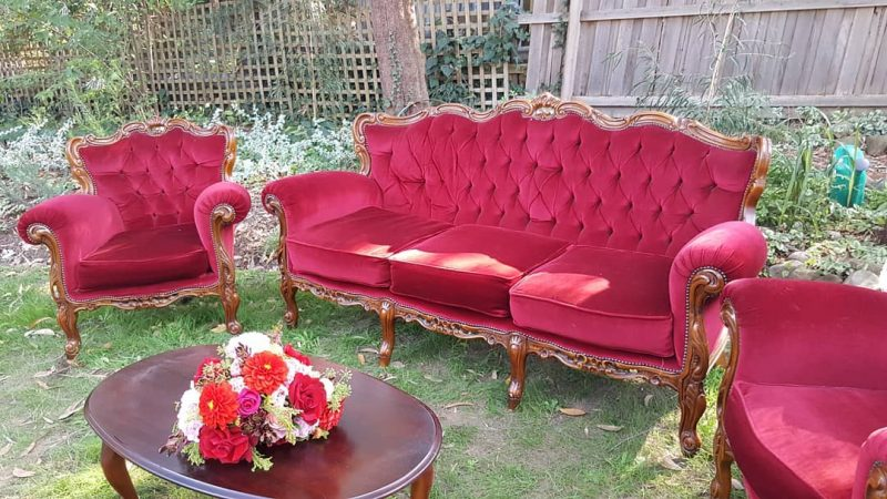 Red Velvet Vintage Armchair