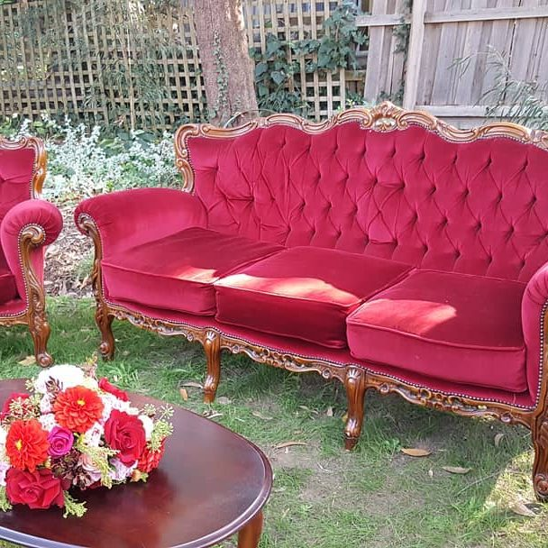 hire-the-high-tea-mistress-green-velvet-vintage-armchair-red velvet-vintage-armchair-red-velvet-vintage-couch